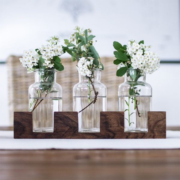 Tischvase Holz Glas