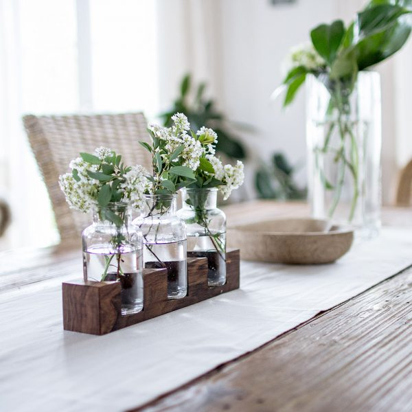 3er Balken aus Glas und Holz